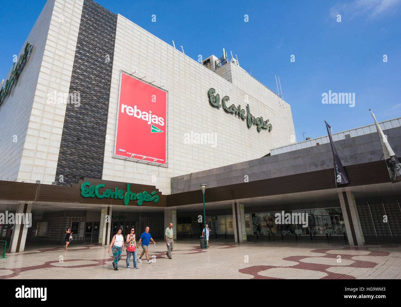Malaga, Malaga Province, Costa del Sol, Andalusia, southern Spain.  El Corte Ingles department store with summer - Stock Image