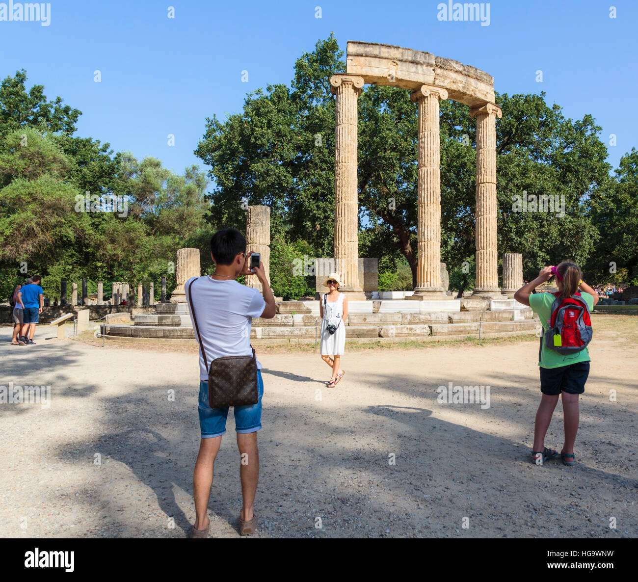 Olympia, Peloponnese, Greece.  Ancient Olympia.  The Philippeion, 4th century BC.  Remains of a circular building - Stock Image