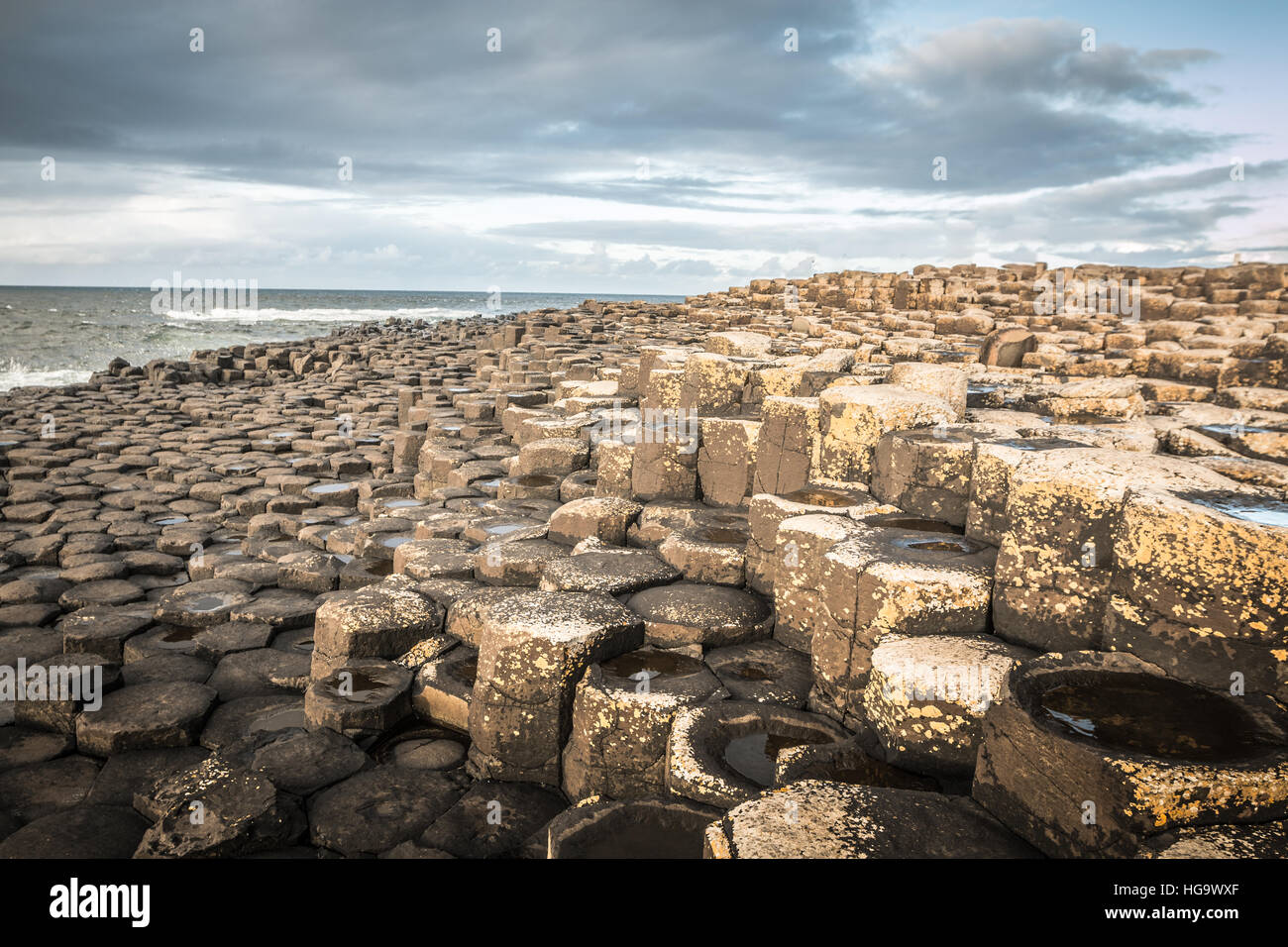 The Giants causeway in Northern Ireland - Stock Image