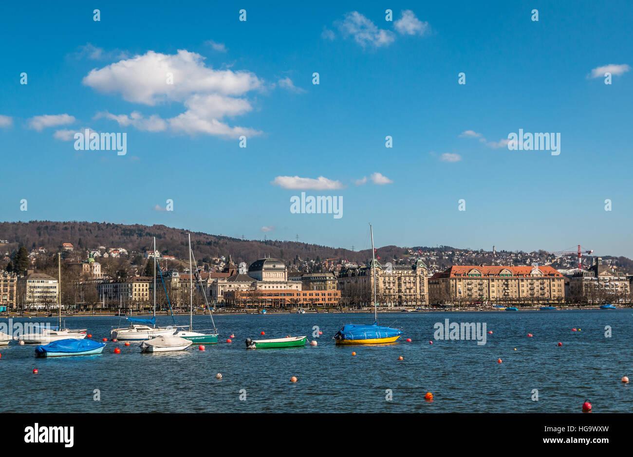 Lake Zurich view - Stock Image