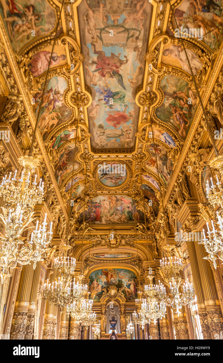 Ceiling inside Paris Opera in France - Stock Image