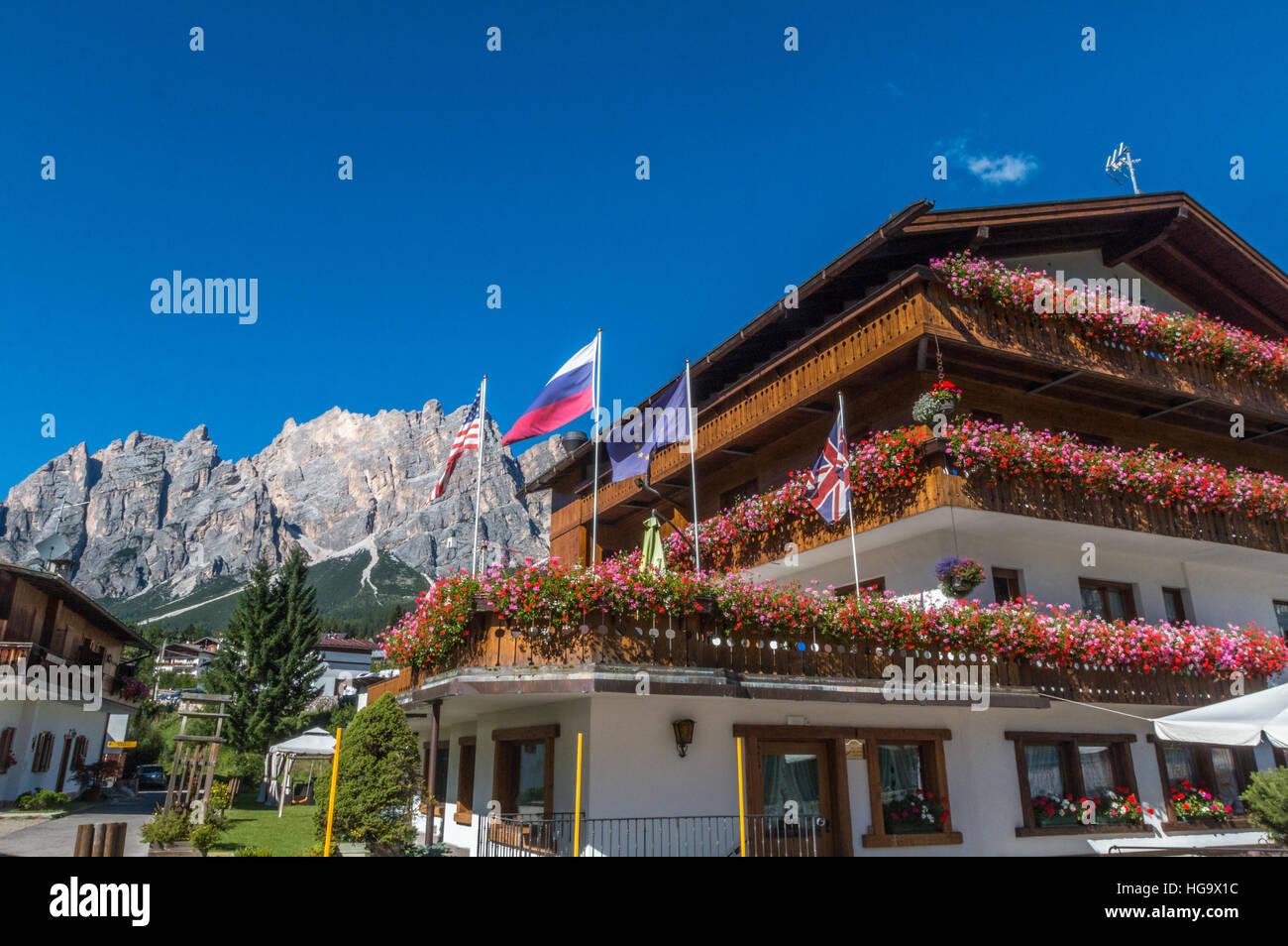 Cortina d'Ampezzo in Italy - Stock Image