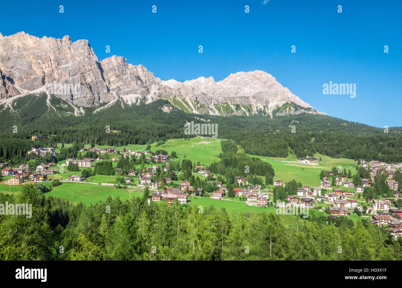Cortina d'Ampezzo in the Italian Alps - Stock Image