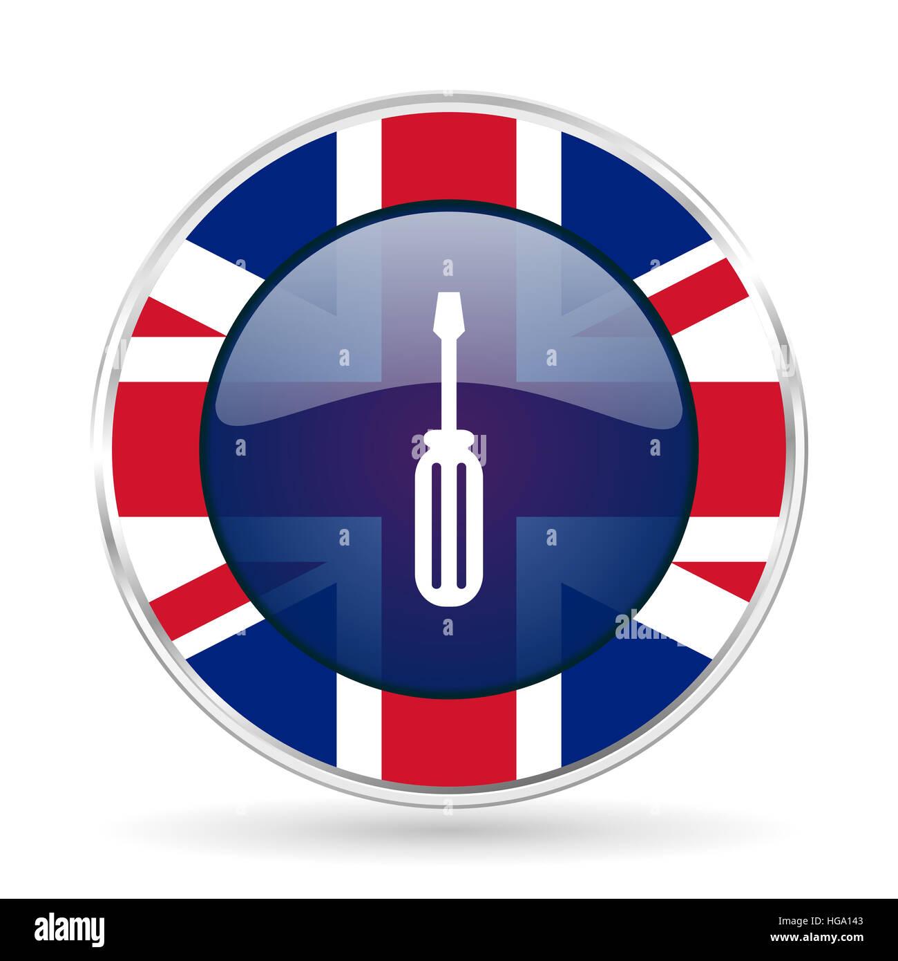 tool british design icon - round silver metallic border button with Great Britain flag - Stock Image