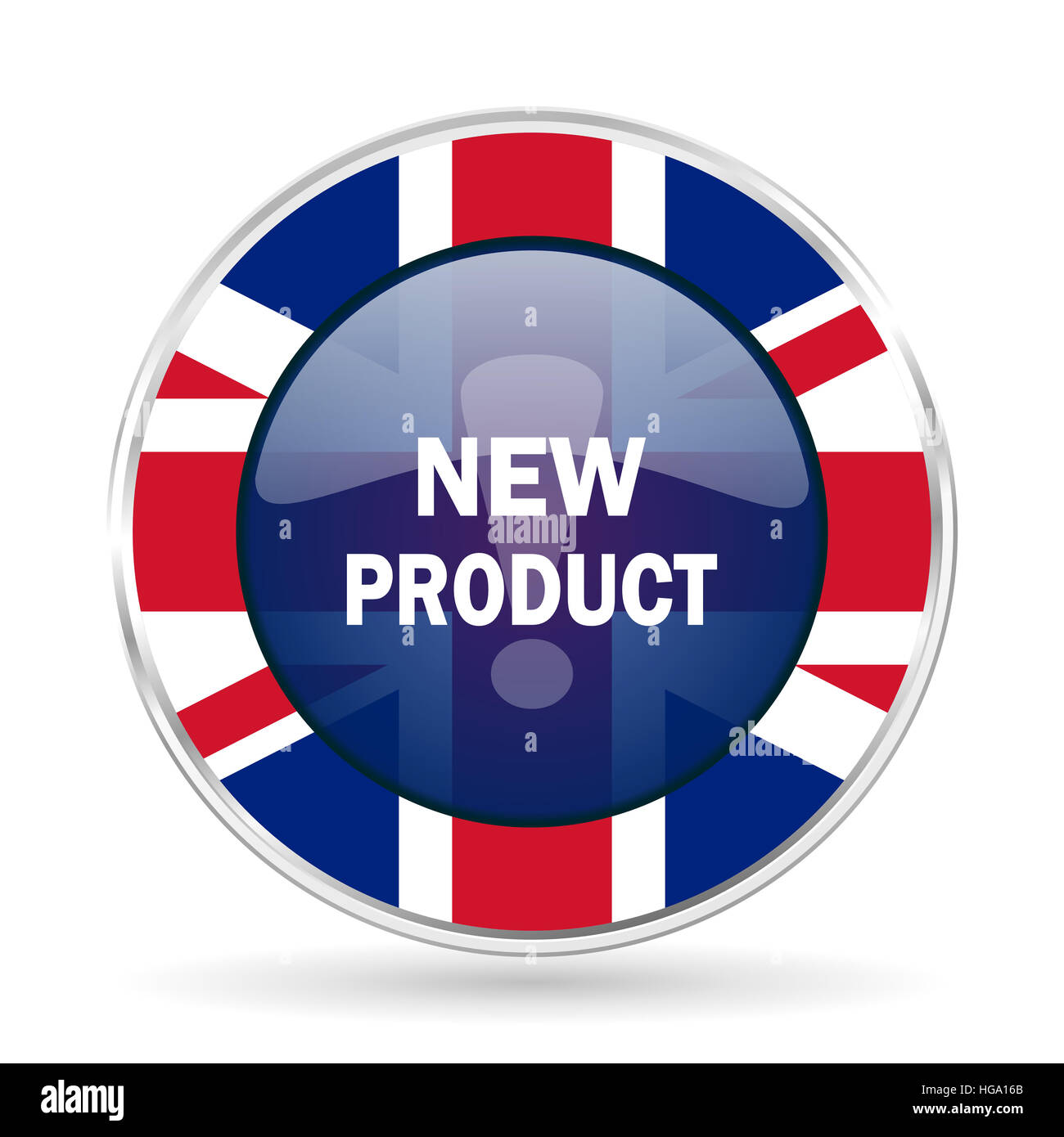new product british design icon - round silver metallic border button with Great Britain flag - Stock Image