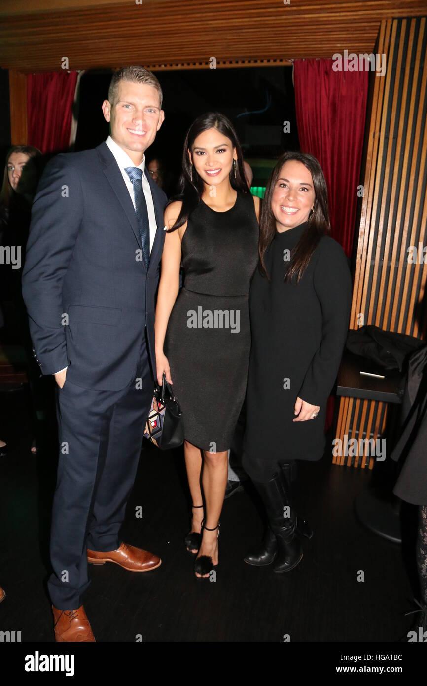 Stephen Wonderboy Thompson Pia Wurtzbach And Samantha Yanks Attending Gotham Magazines Celebration Of Its Winter 2016 Issue At Meguat Megu New York In