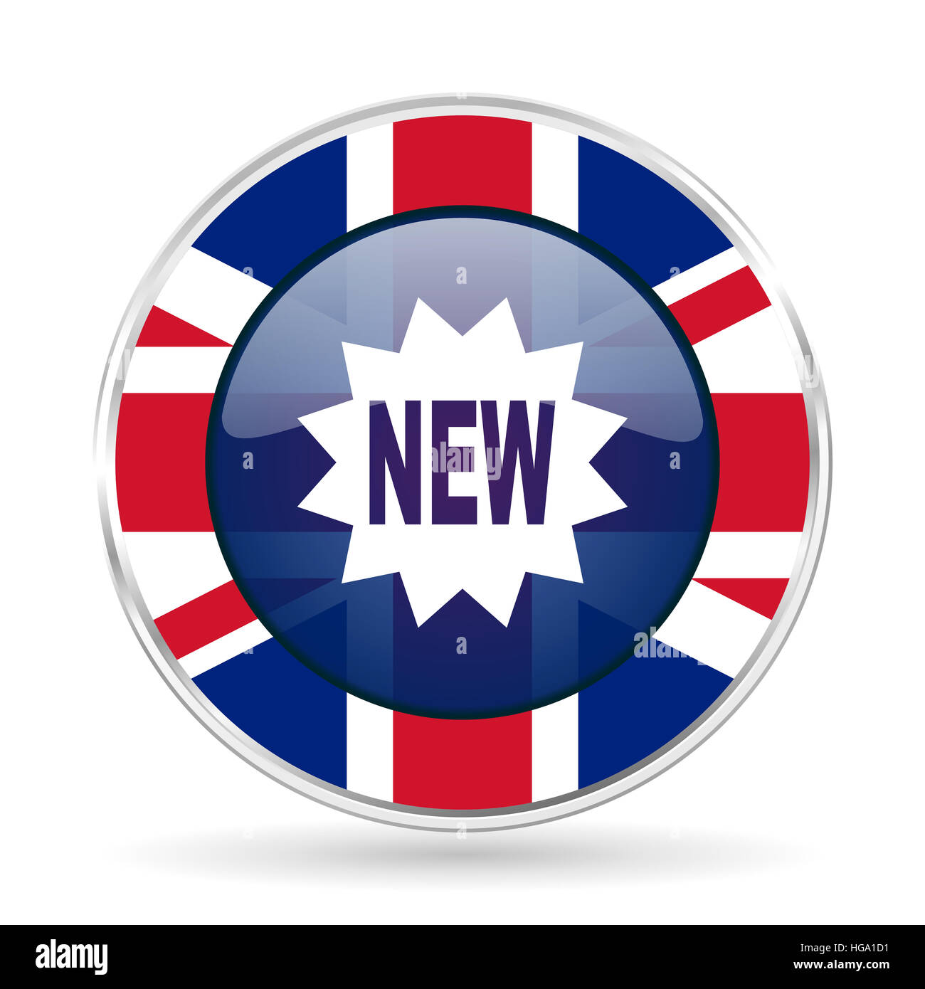 new british design icon - round silver metallic border button with Great Britain flag - Stock Image