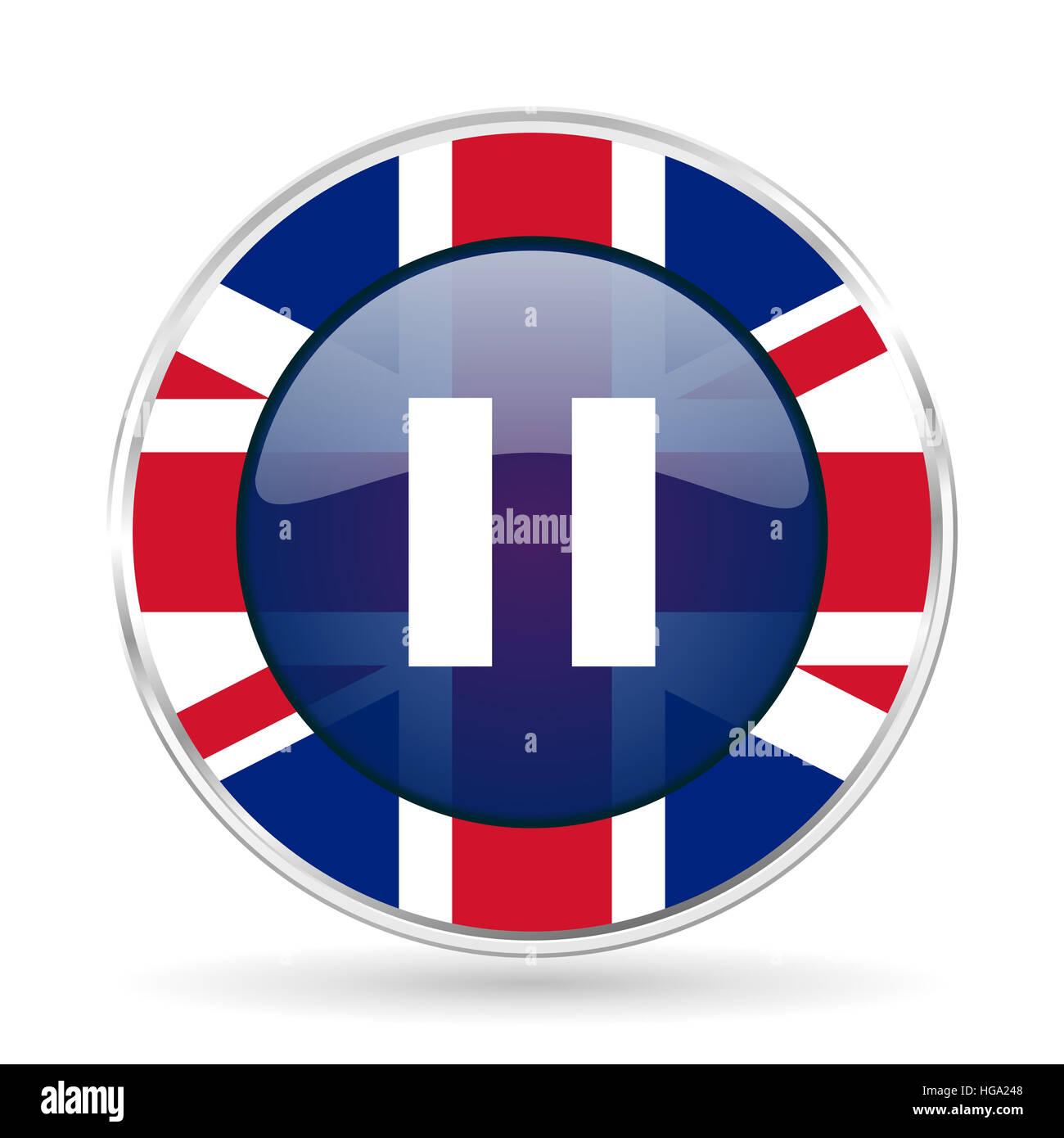 pause british design icon - round silver metallic border button with Great Britain flag - Stock Image