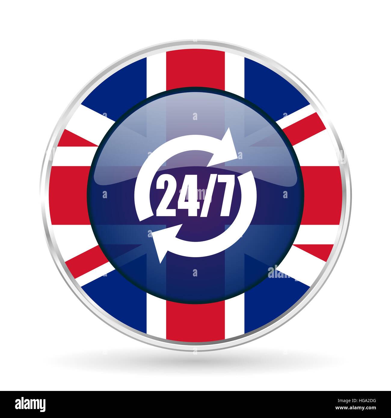 Service british design icon - round silver metallic border button with Great Britain flag - Stock Image