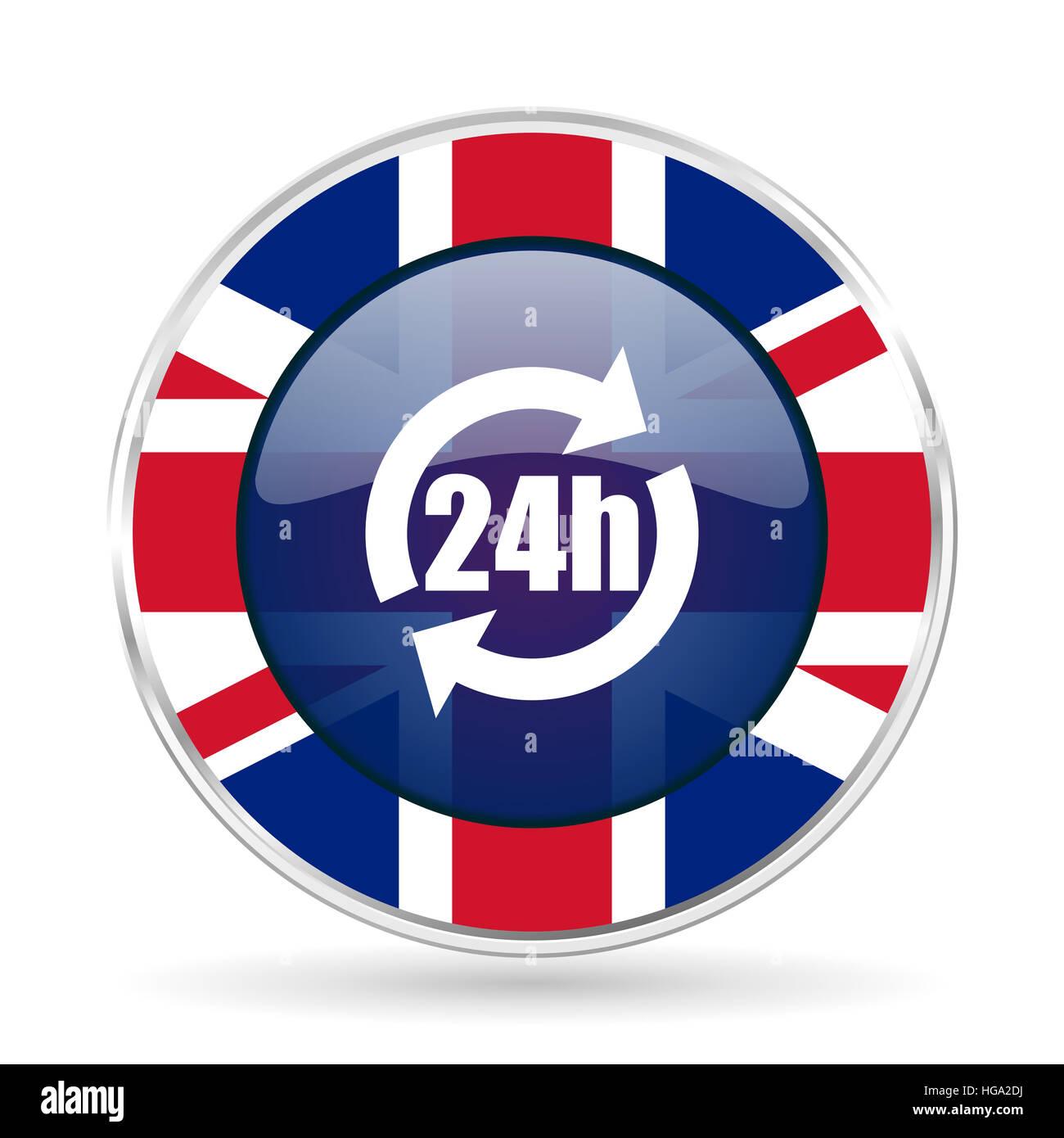 24h british design icon - round silver metallic border button with Great Britain flag - Stock Image