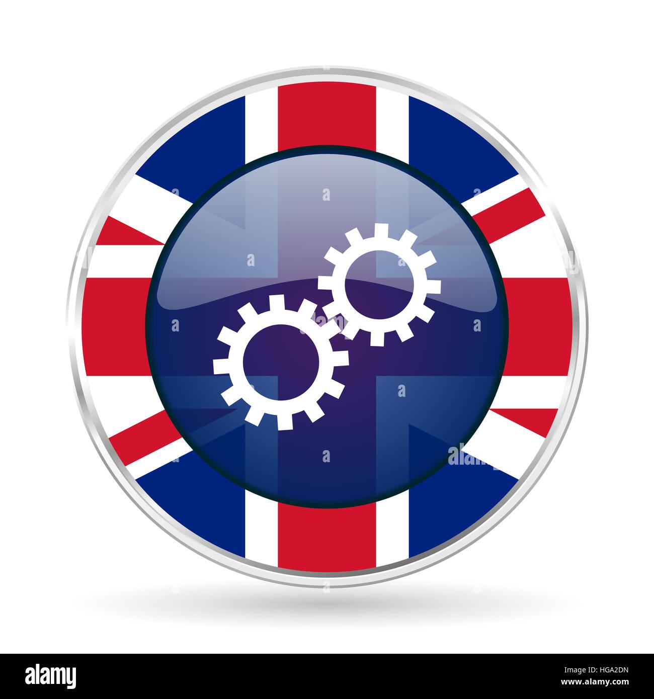 Gear british design icon - round silver metallic border button with Great Britain flag - Stock Image