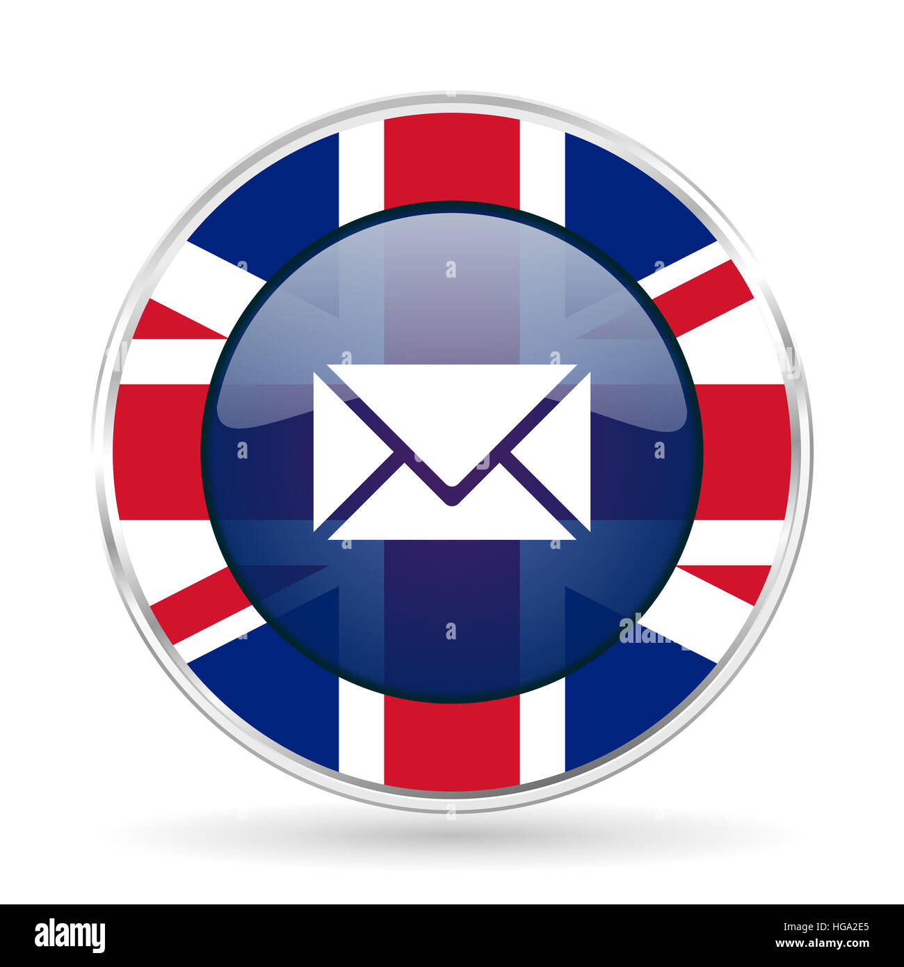 Email british design icon - round silver metallic border button with Great Britain flag - Stock Image