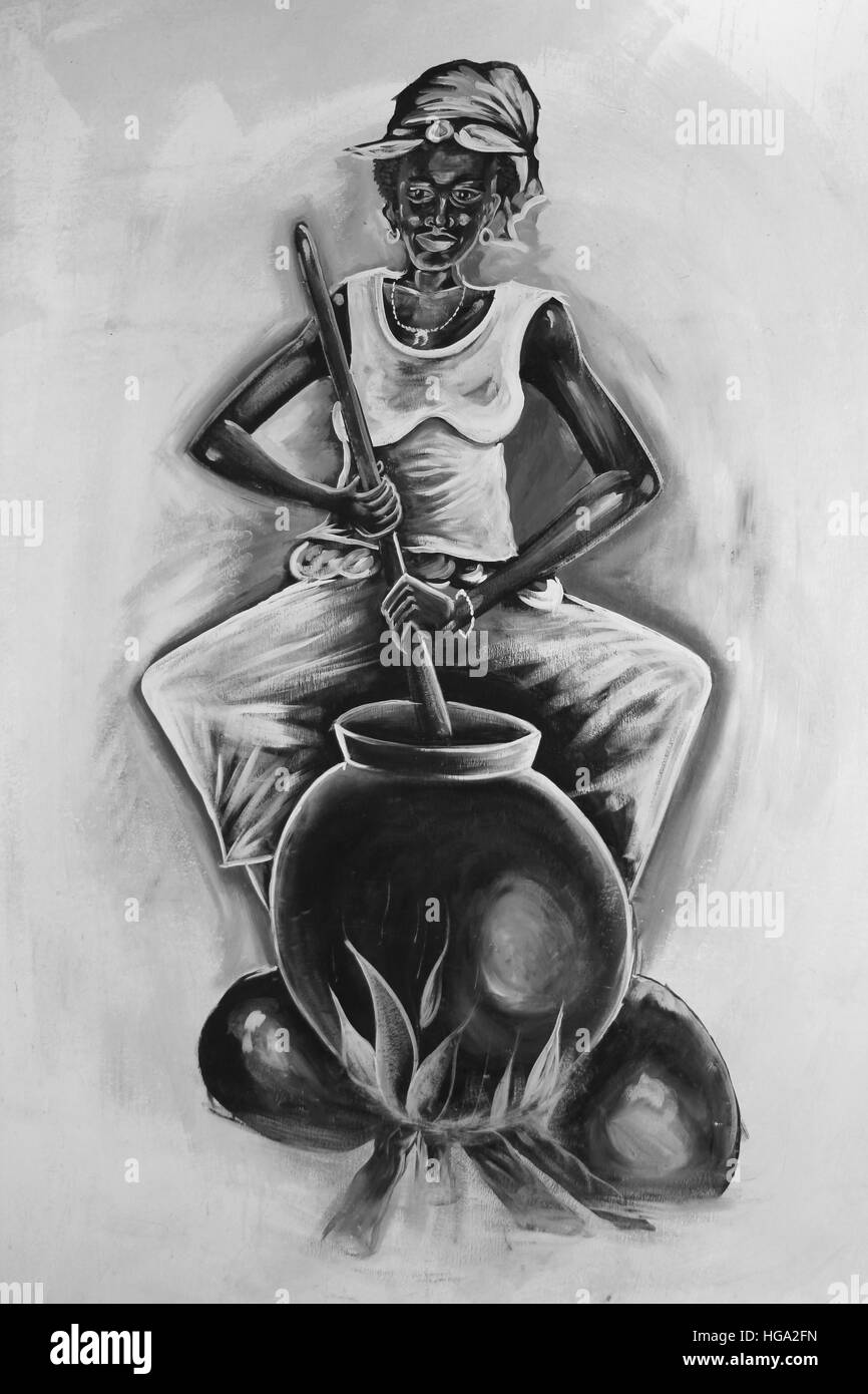 Ghana Painting Of Woman Stirring Contents of Cooking Pot - Stock Image