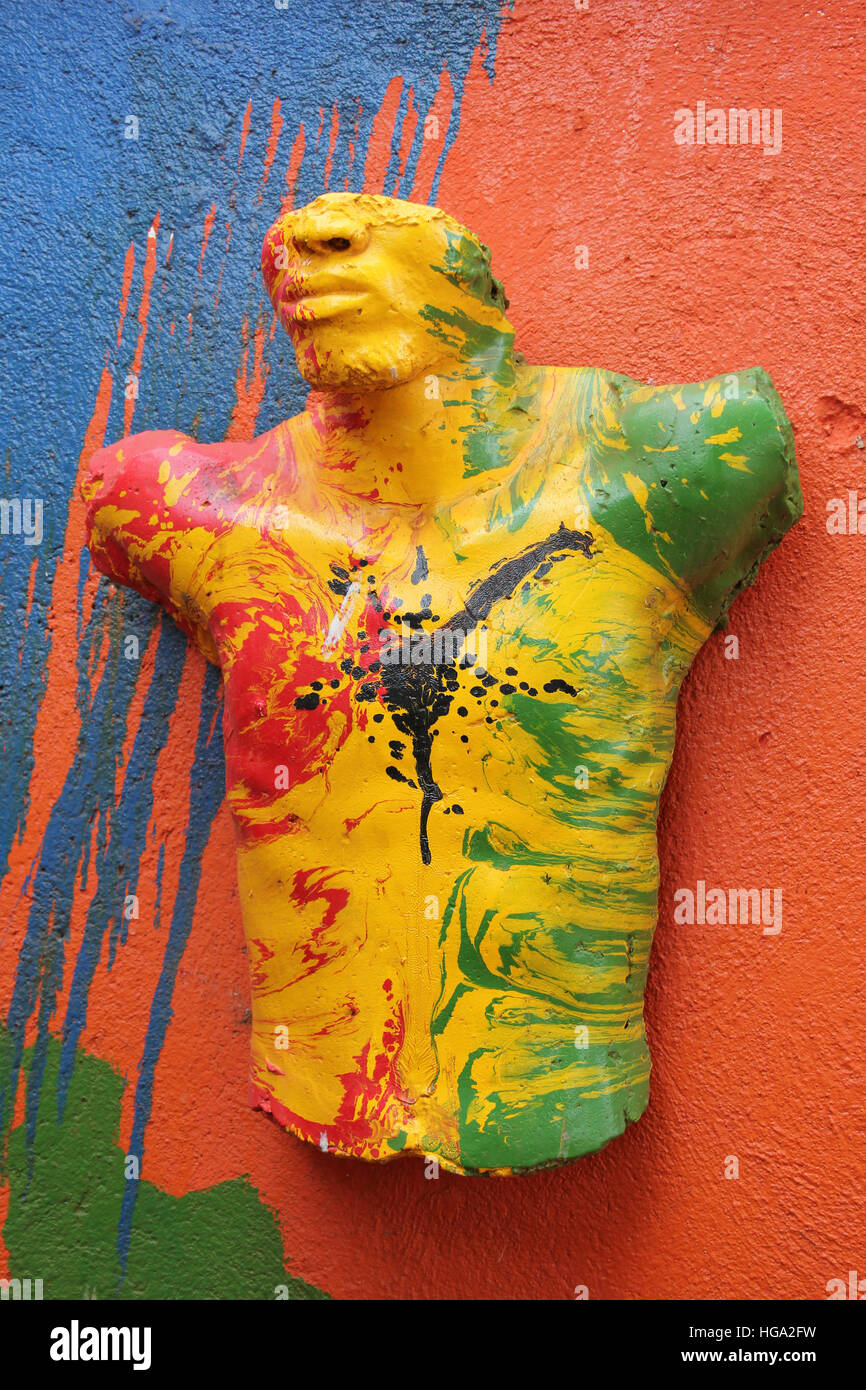 Modern Ghana Art African Mans Torso Painted In Bright