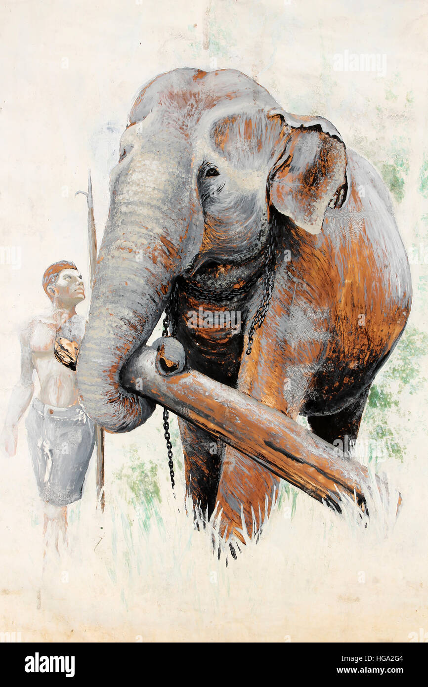 Painting Of a mahout with his working Asian Elephant - Stock Image