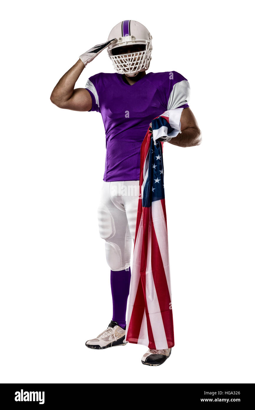fcd3e807f7a Football Player with a purple uniform saluting with a american flag ...