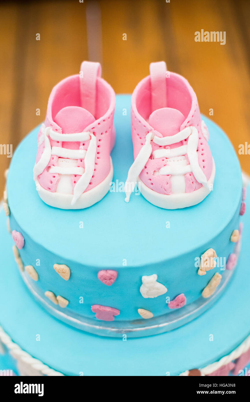 Terrific Child Birthday Cake Decorated For Kids Blue Color With Pink Personalised Birthday Cards Sponlily Jamesorg