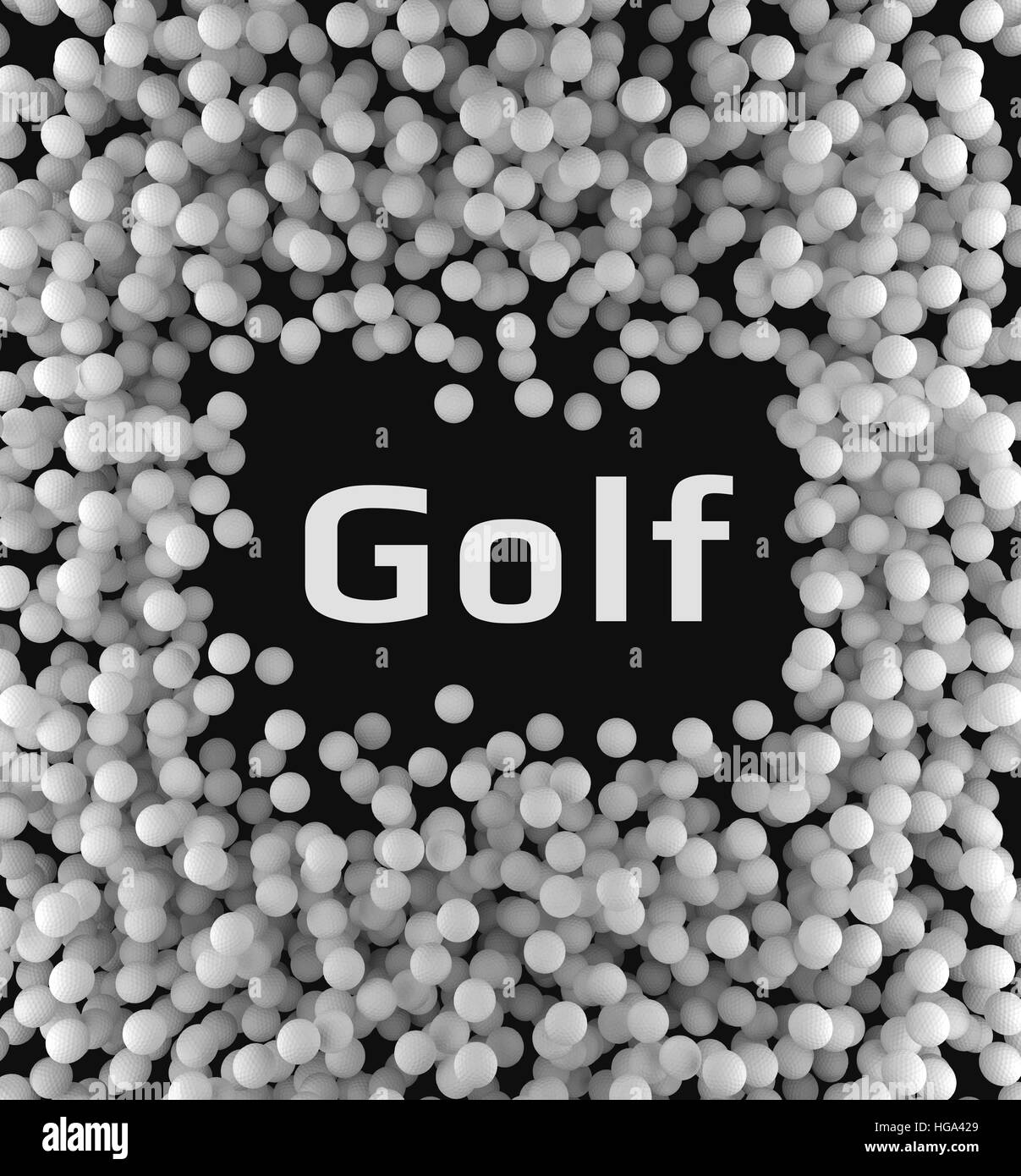 Background of golf balls with a blank space. 3d rendering - Stock Image