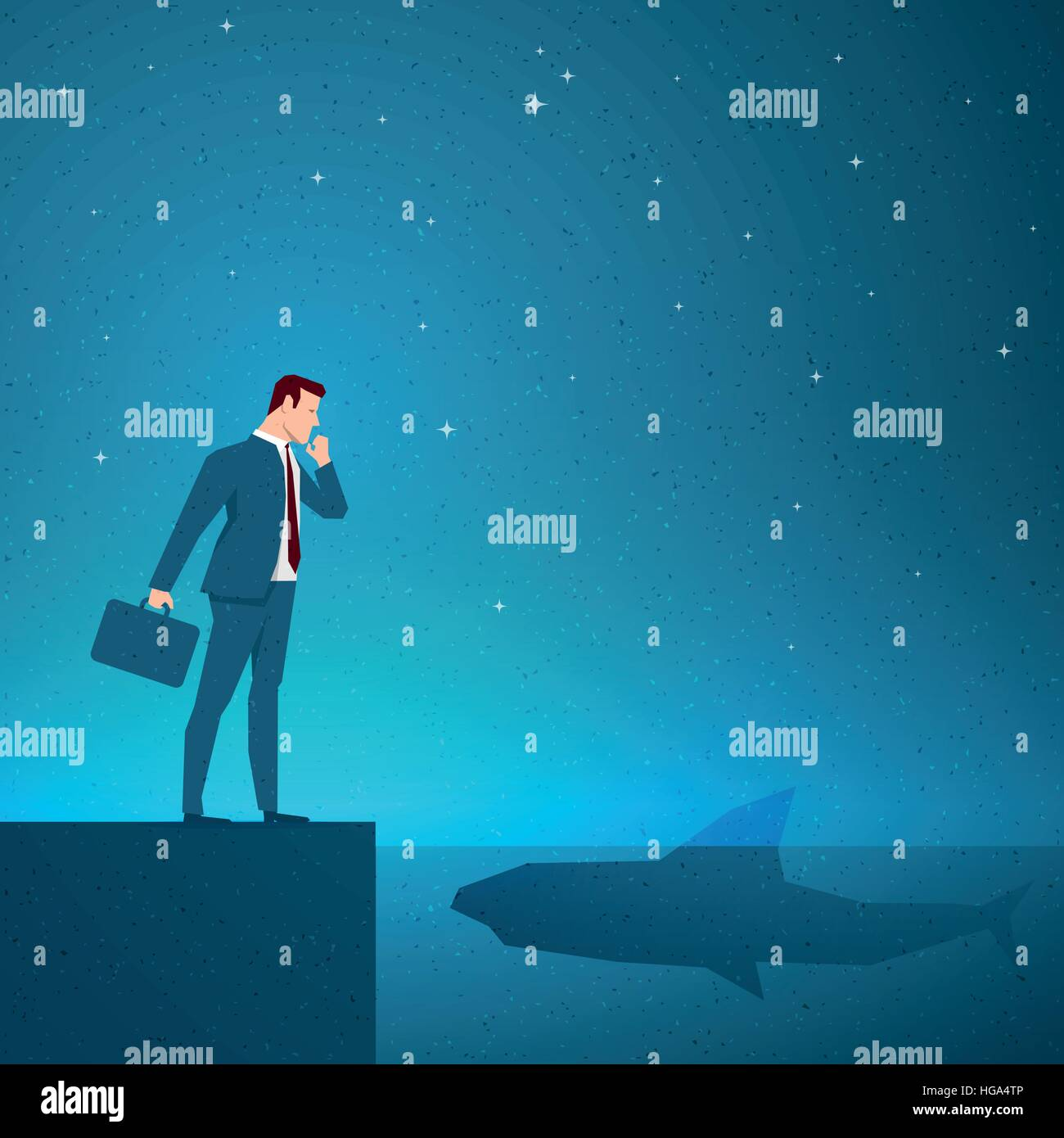 Business concept vector illustration. Trouble, risk, danger, crisis concept. Elements are layered separately in - Stock Vector