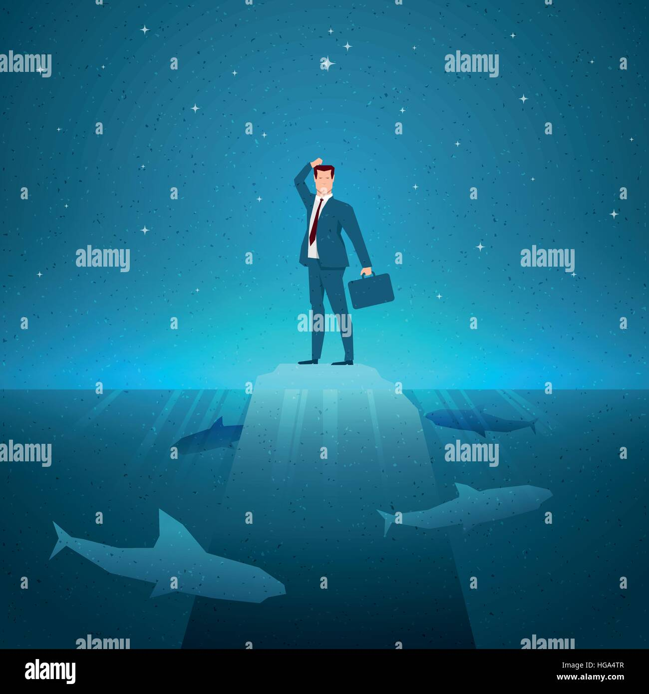 Business concept vector illustration. Trouble, problem, risk, danger, crisis concept. Elements are layered separately - Stock Vector