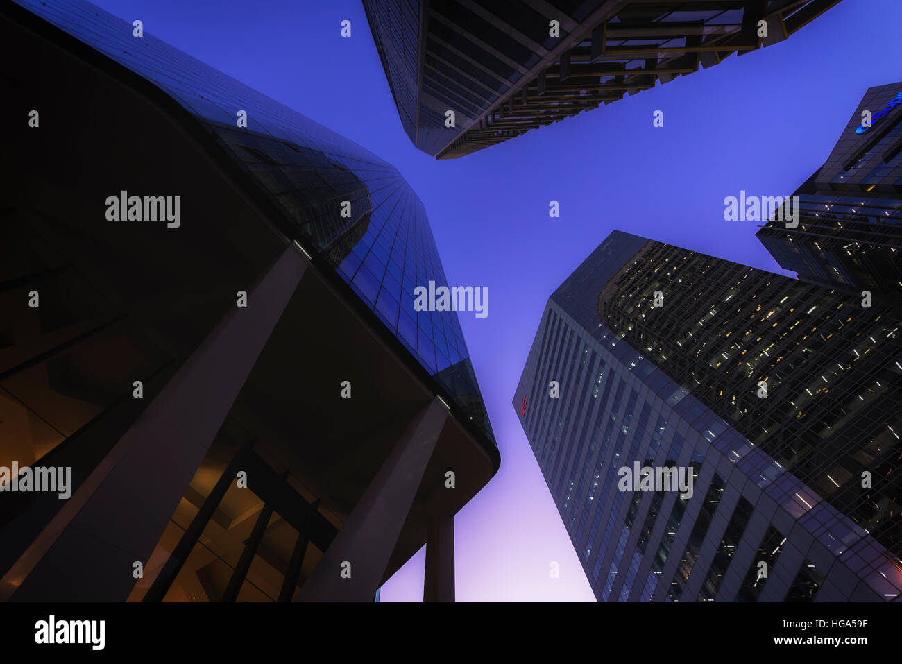 Looking up to the skyline on dusk in the Brisbane CBD and being captivated by the building shapes - Stock Image
