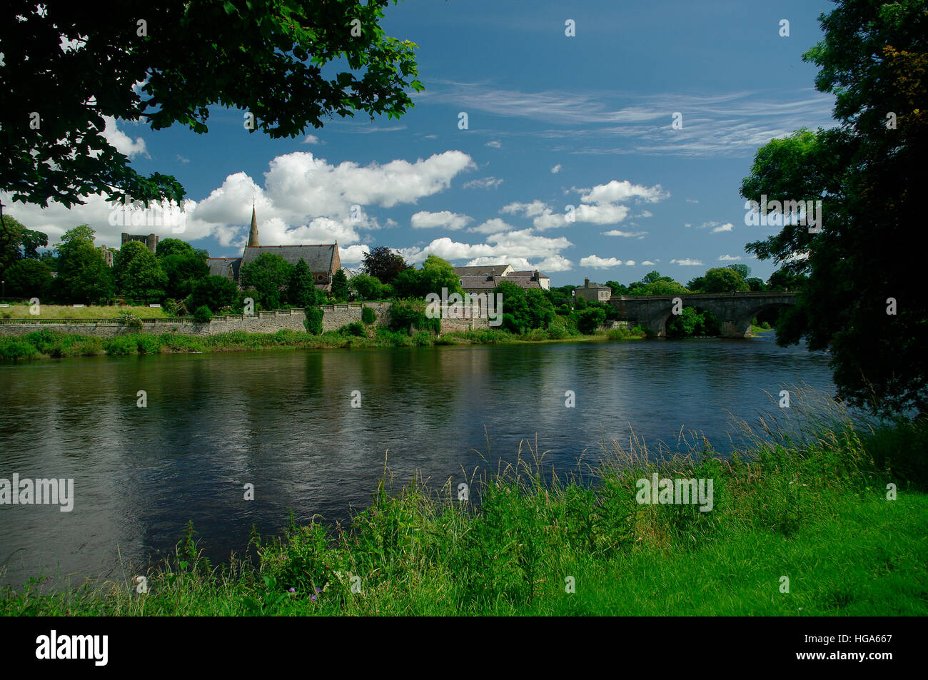 River Tweed in Kelso,Scottish Borders - Stock Image