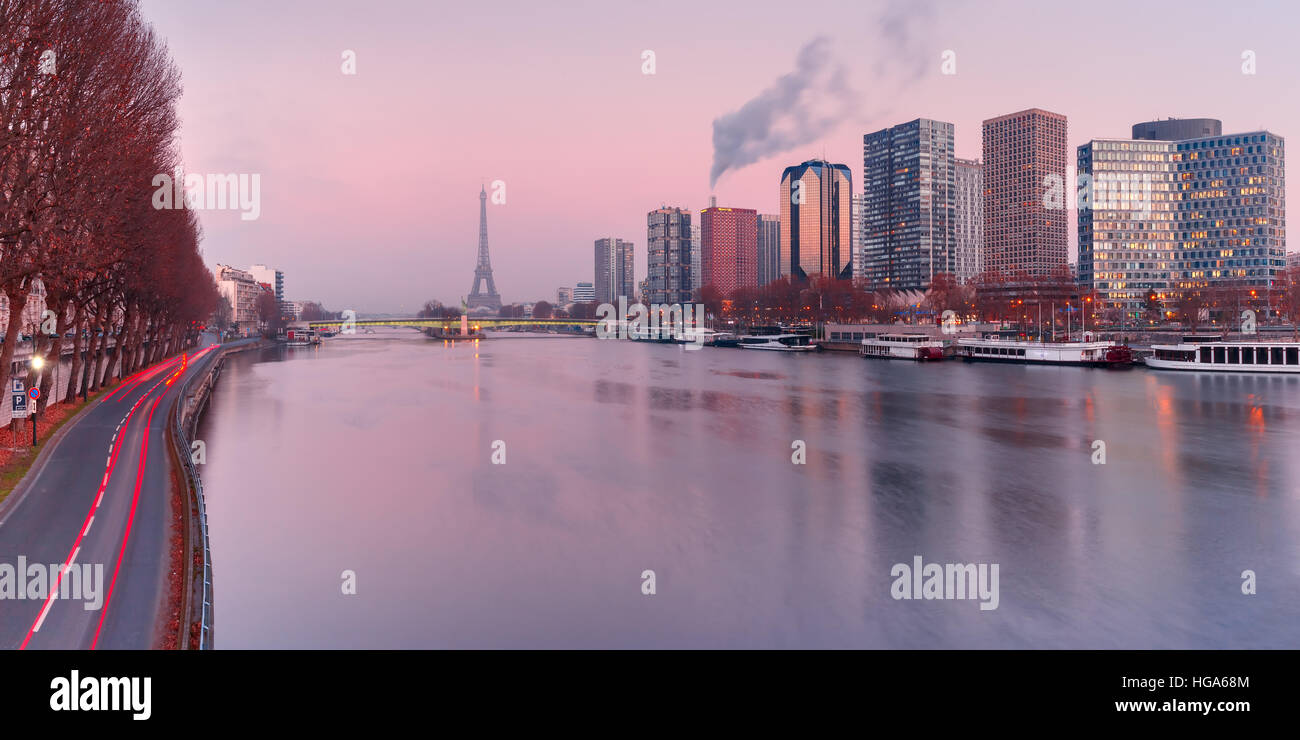 Panorama with Eiffel tower at sunset, Paris France - Stock Image