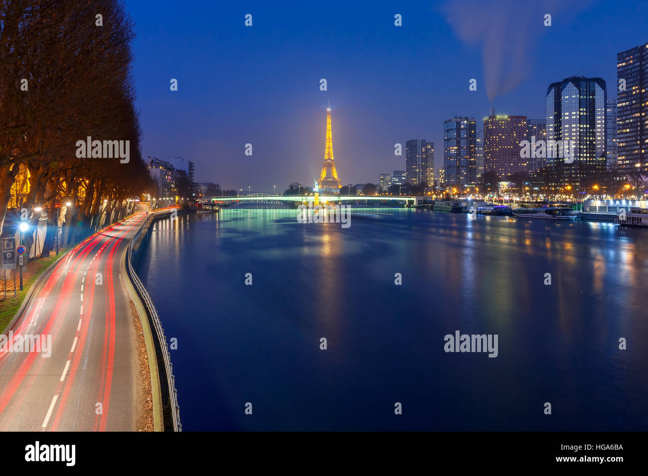 Panorama with Eiffel tower at night, Paris France Stock Photo