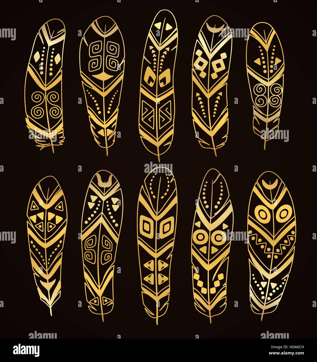Hand drawn golden ethnic feathers set isolated on brown background. Collection of stylized tribal elements. - Stock Image