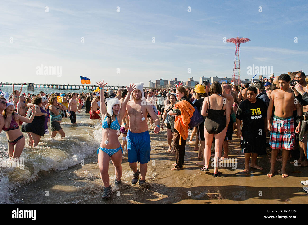 The Coney Island New Years day polar bear plunge, 2012 - Stock Image