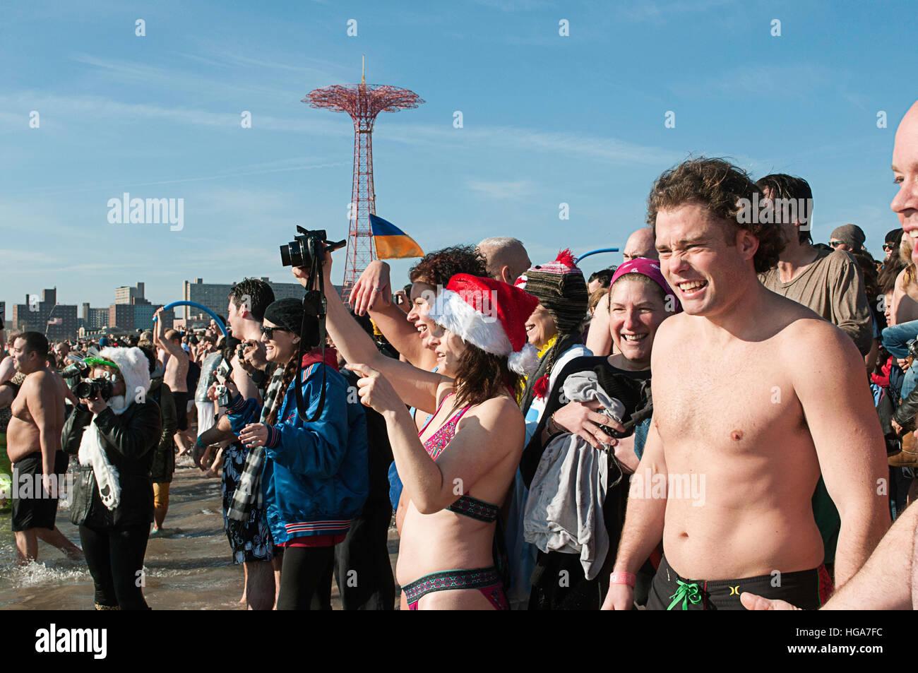 Coney Island Polar Bear plunge on New Years day 2012 - Stock Image