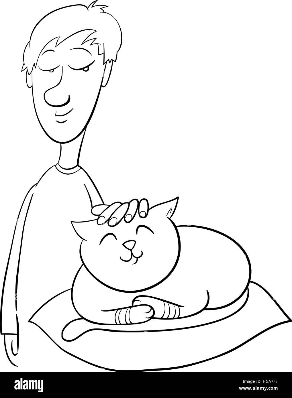 Black and White Cartoon Illustration of Boy Stroking his Pet Cat ...