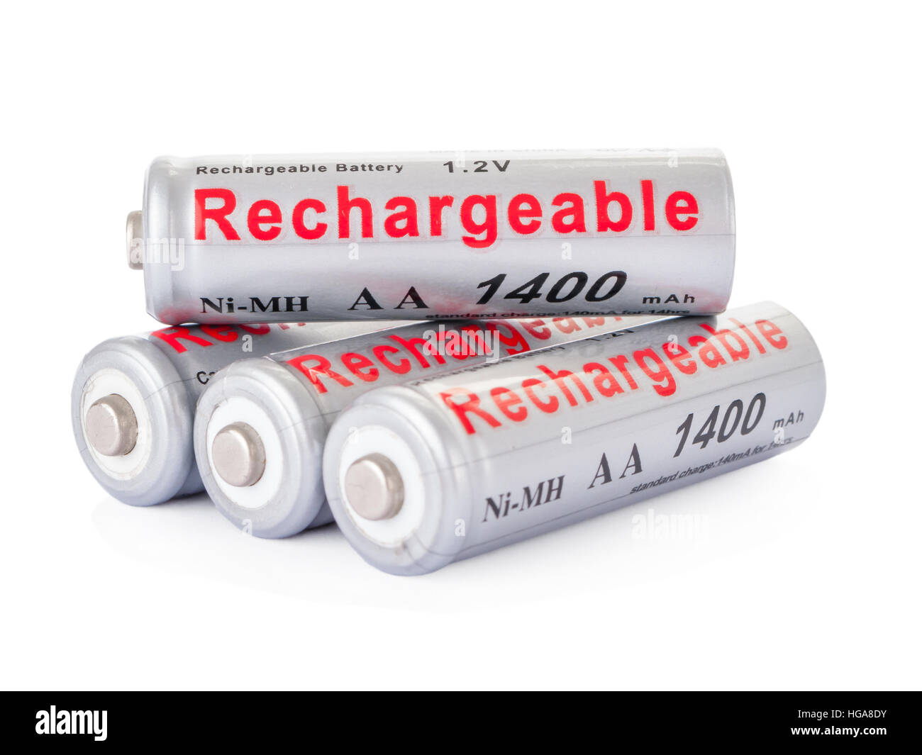 Rechargeable AA batteries isolated on white background. - Stock Image