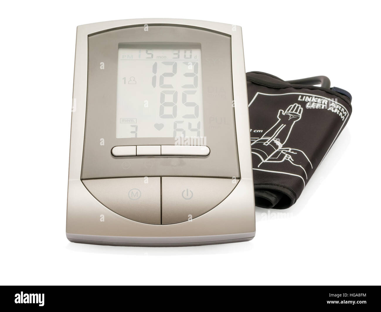 Modern electronic sphygmomanometer (blood pressure measure equipment) isolated on white background. - Stock Image