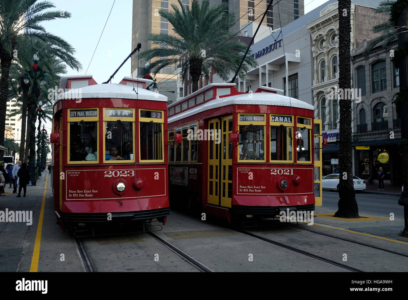 NEW ORLEANS, LA: Streetcars on Canal Street in the French Quarter.  11/15/16 - Stock Image