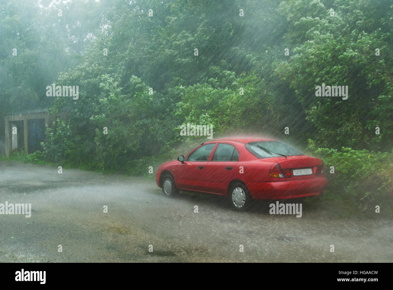 Parked red car in rural forest road area in heavy storm rain - Stock Image