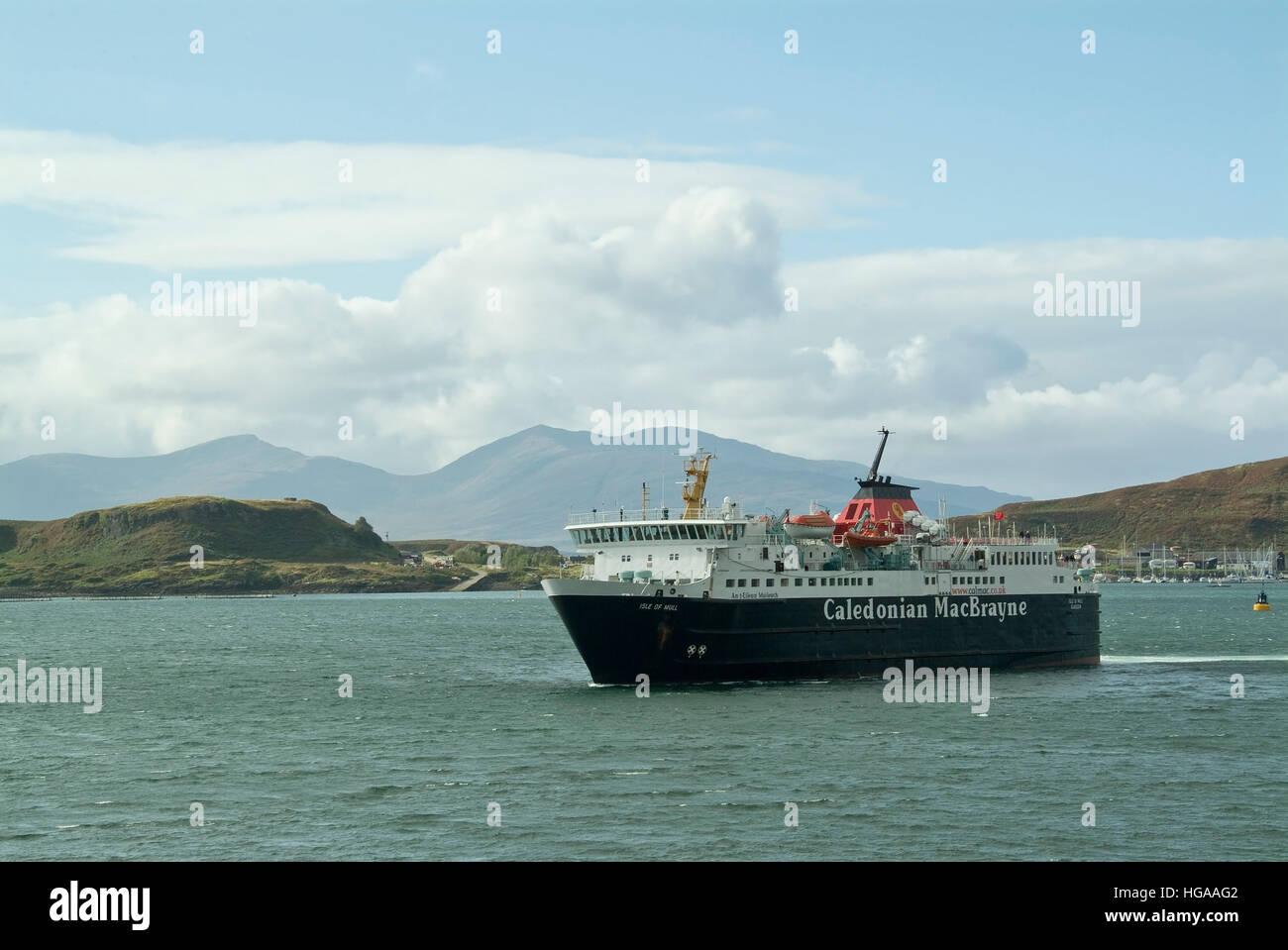 Calmac ferry isle of Mull in Oban Bay. - Stock Image