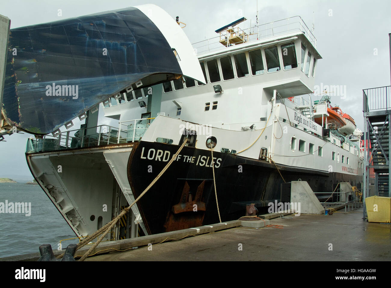 Cal-Mac ferry Lord of the Isles in Oban dock. - Stock Image