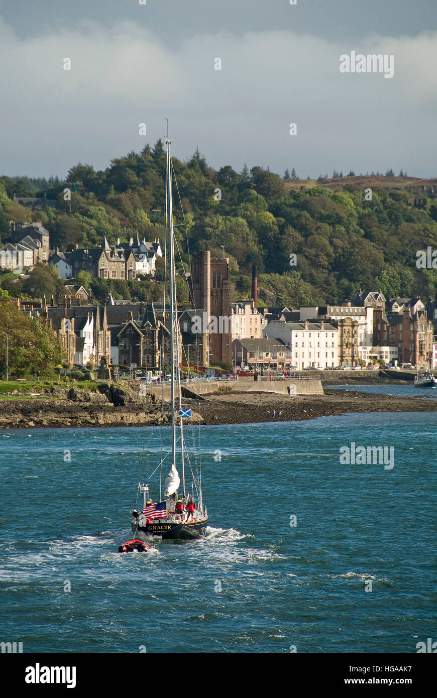 View of Oban rom Cal-Mac ferry Lord of the Isles. - Stock Image