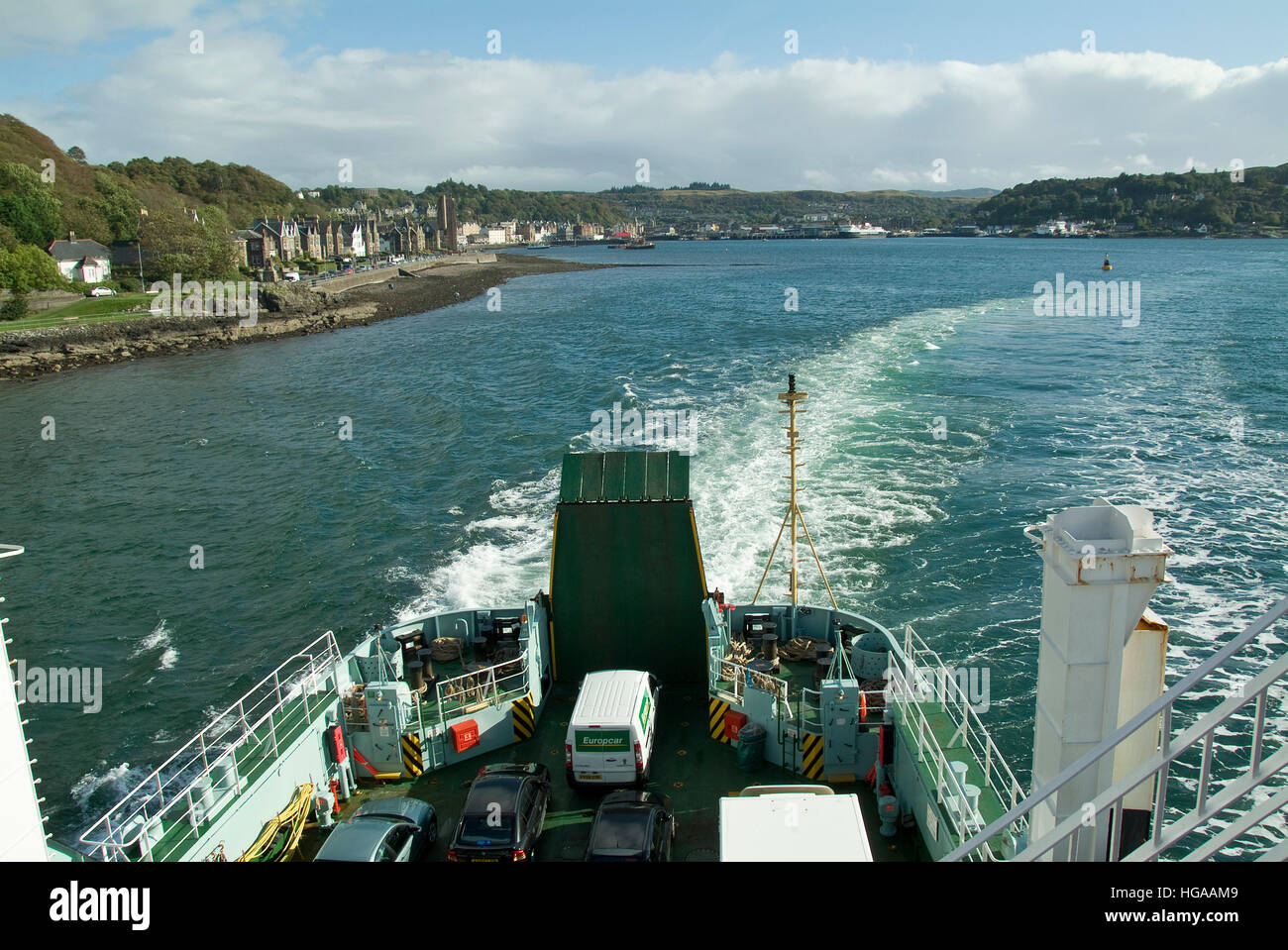View of Oban from Cal-Mac ferry Lord of the Isles. - Stock Image
