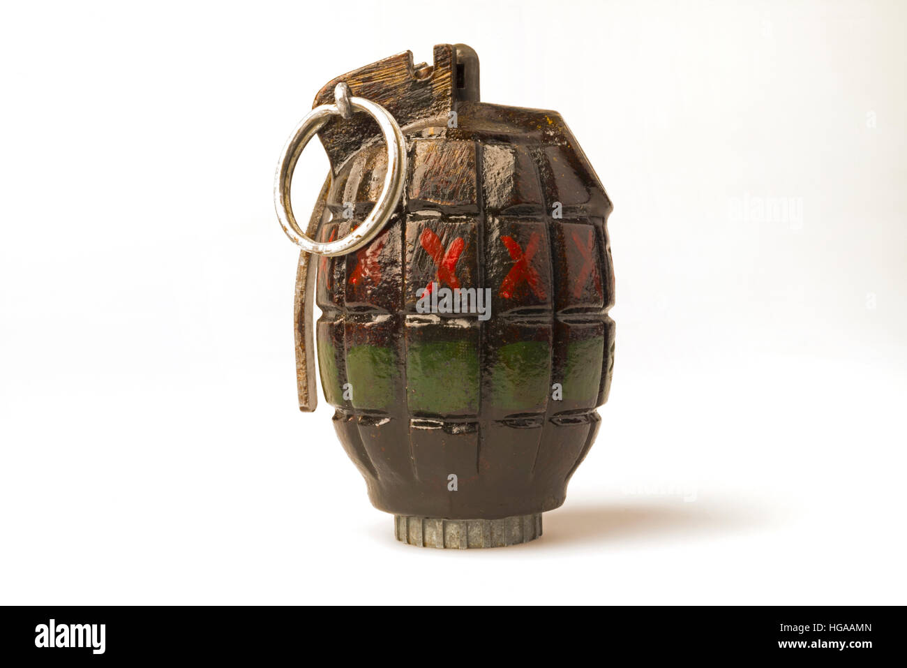 A hand grenade. This type of grenade is properly known as a Mills Bomb. - Stock Image