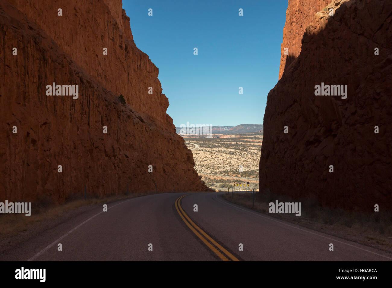 Blanding, Utah - Utah Highway 95 slices through Comb Ridge in Bears Ears National Monument. The ridge was a huge - Stock Image