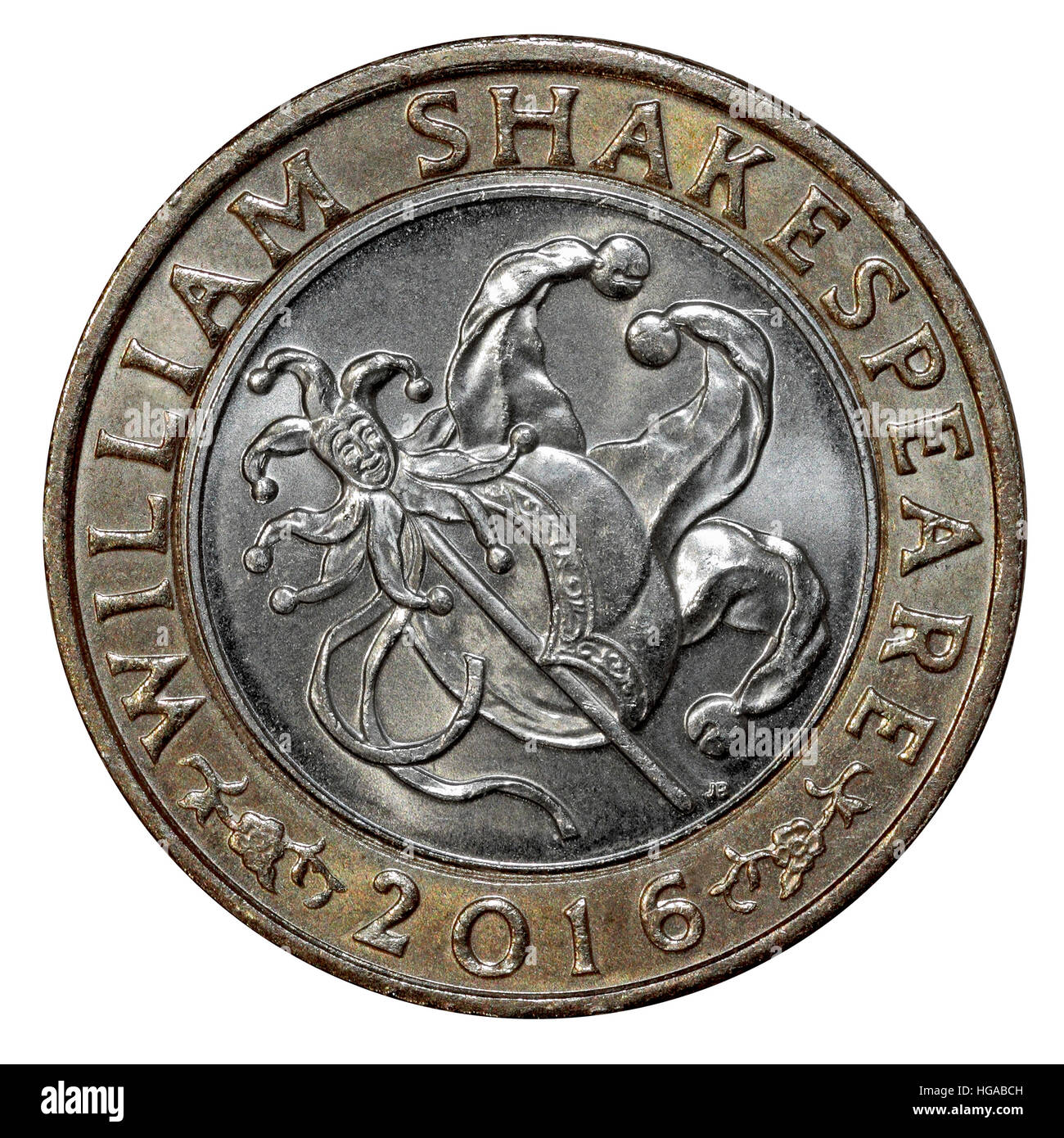 A William Shakespeare commemorative issue 2016 £2 Coin tails side jester - Stock Image