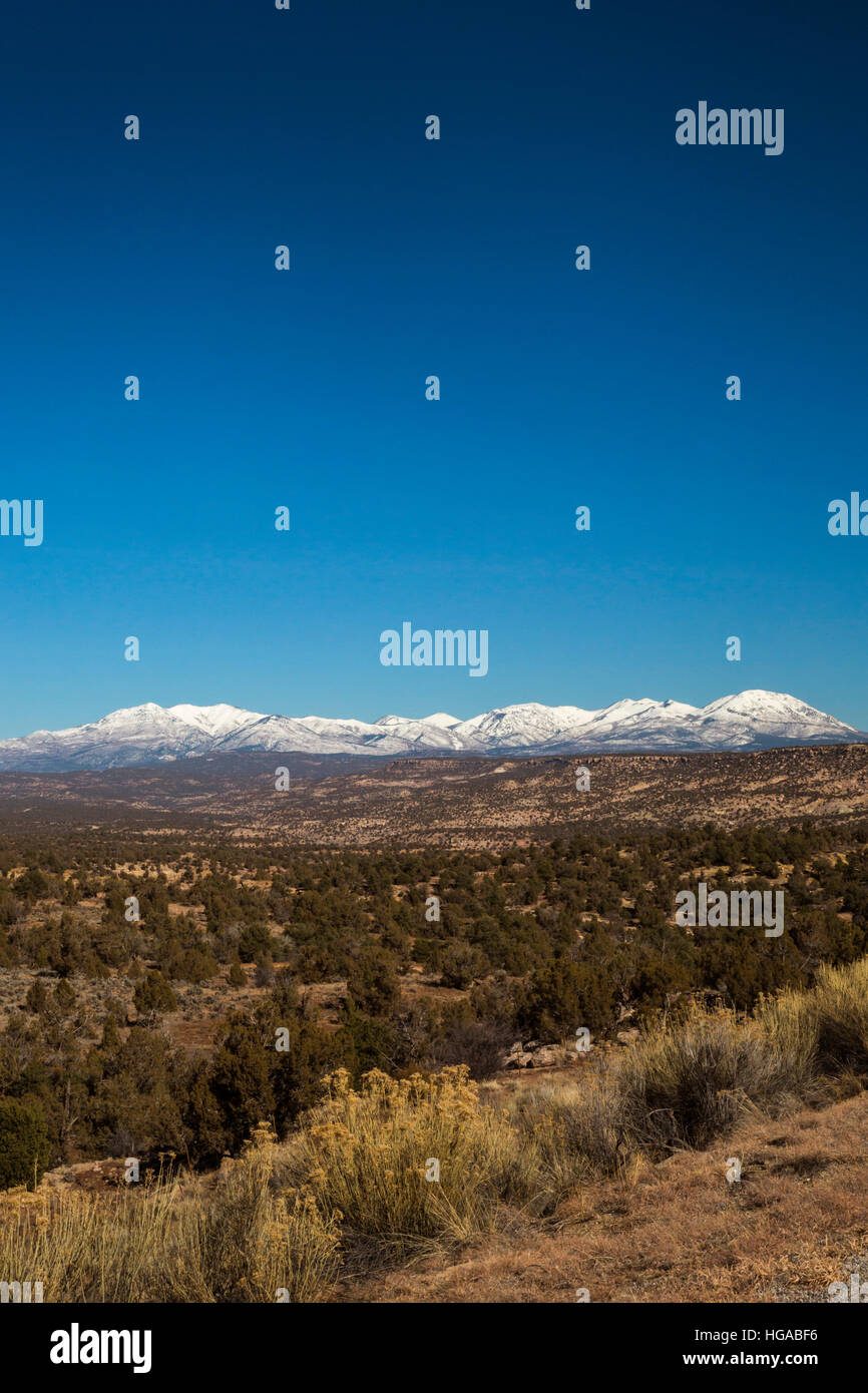 Blanding, Utah - Bears Ears National Monument ant the Abajo Mountains. - Stock Image