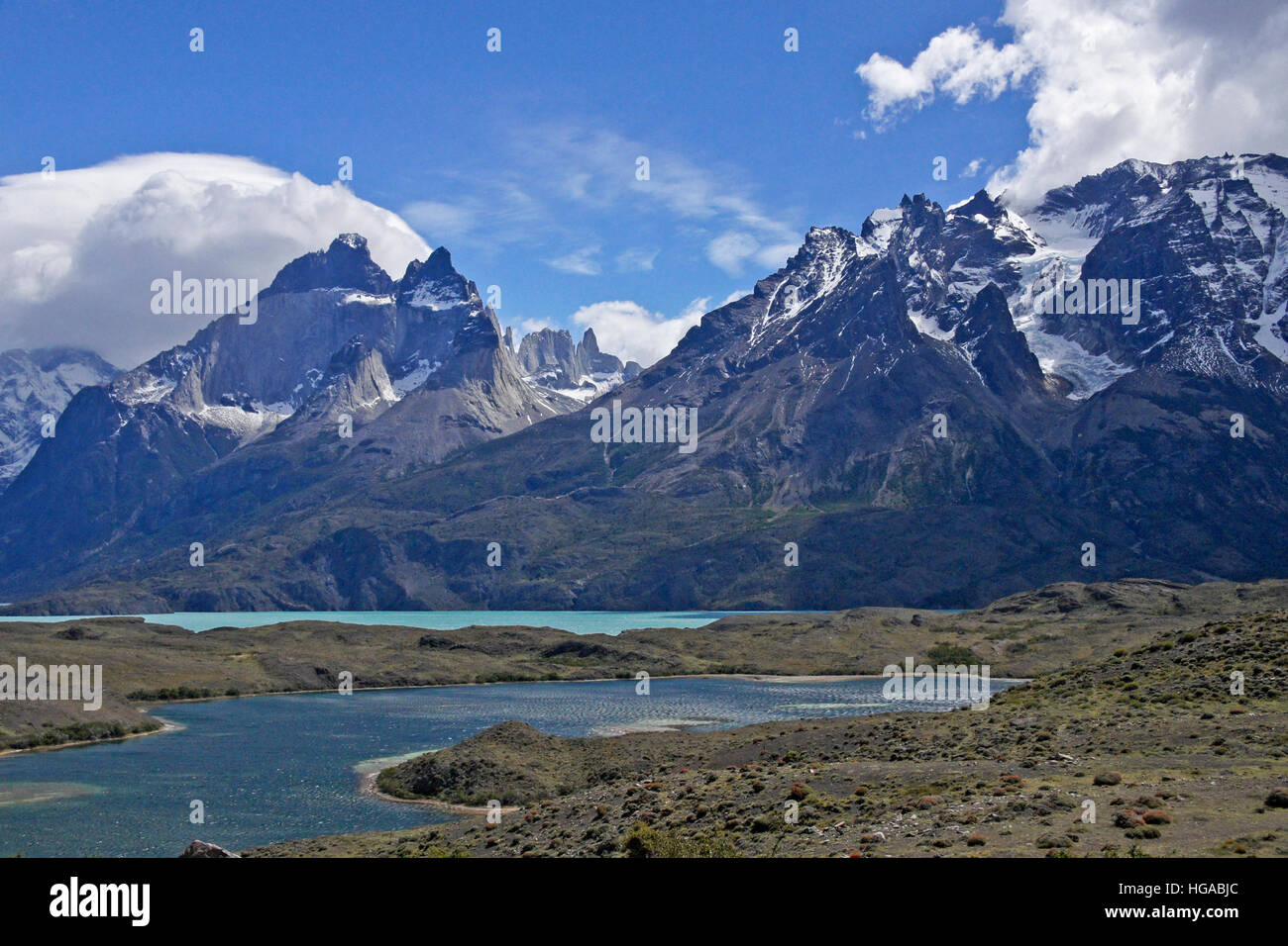 Lago Nordenskjold and the Paine Massif, Torres del Paine National Park, Patagonia, Chile - Stock Image