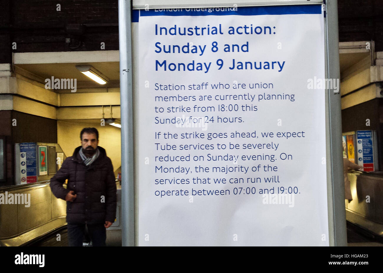 Wood Green, London 7 Jan 2017 - The notice inside Wood Green underground station advising commuters  about a planned - Stock Image