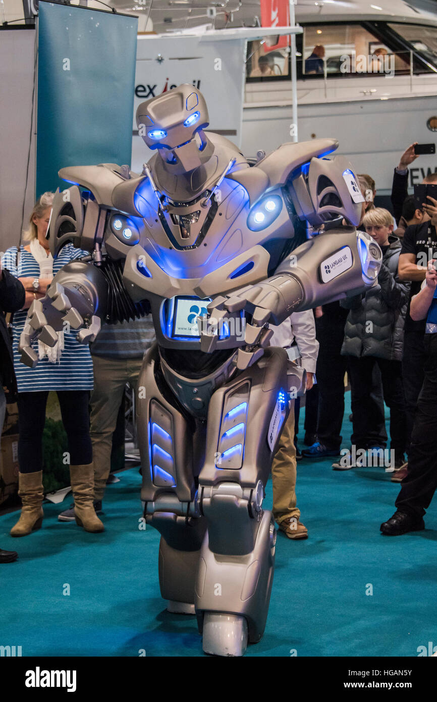 London, UK. 7th January, 2017. Titan the robot visitors at the Landau UK stand - The London Boat Show opens at the Stock Photo