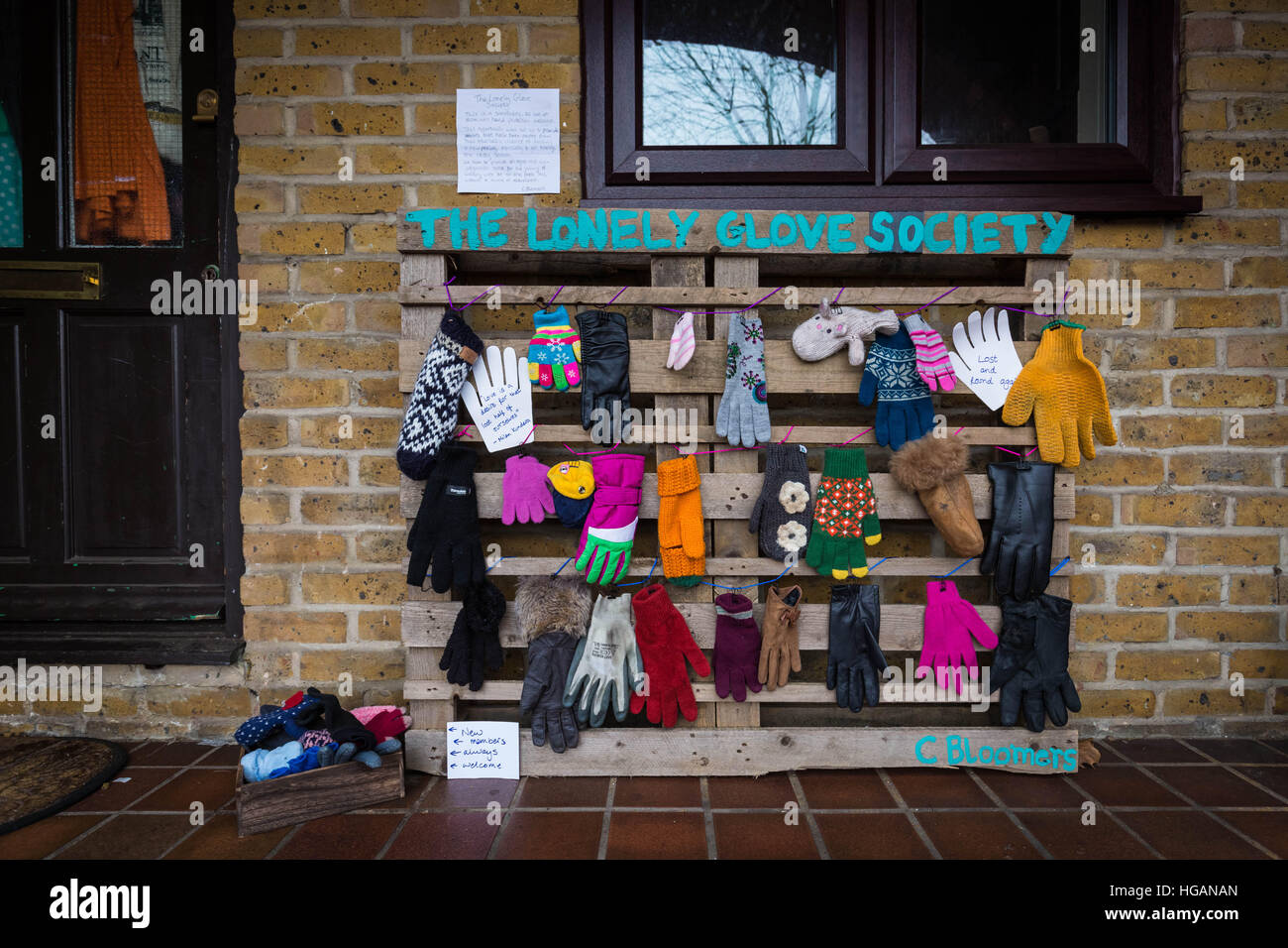London, UK. 7th January, 2017. The Lonely Glove Society. A sanctuary for lost or disowned gloves that have been - Stock Image