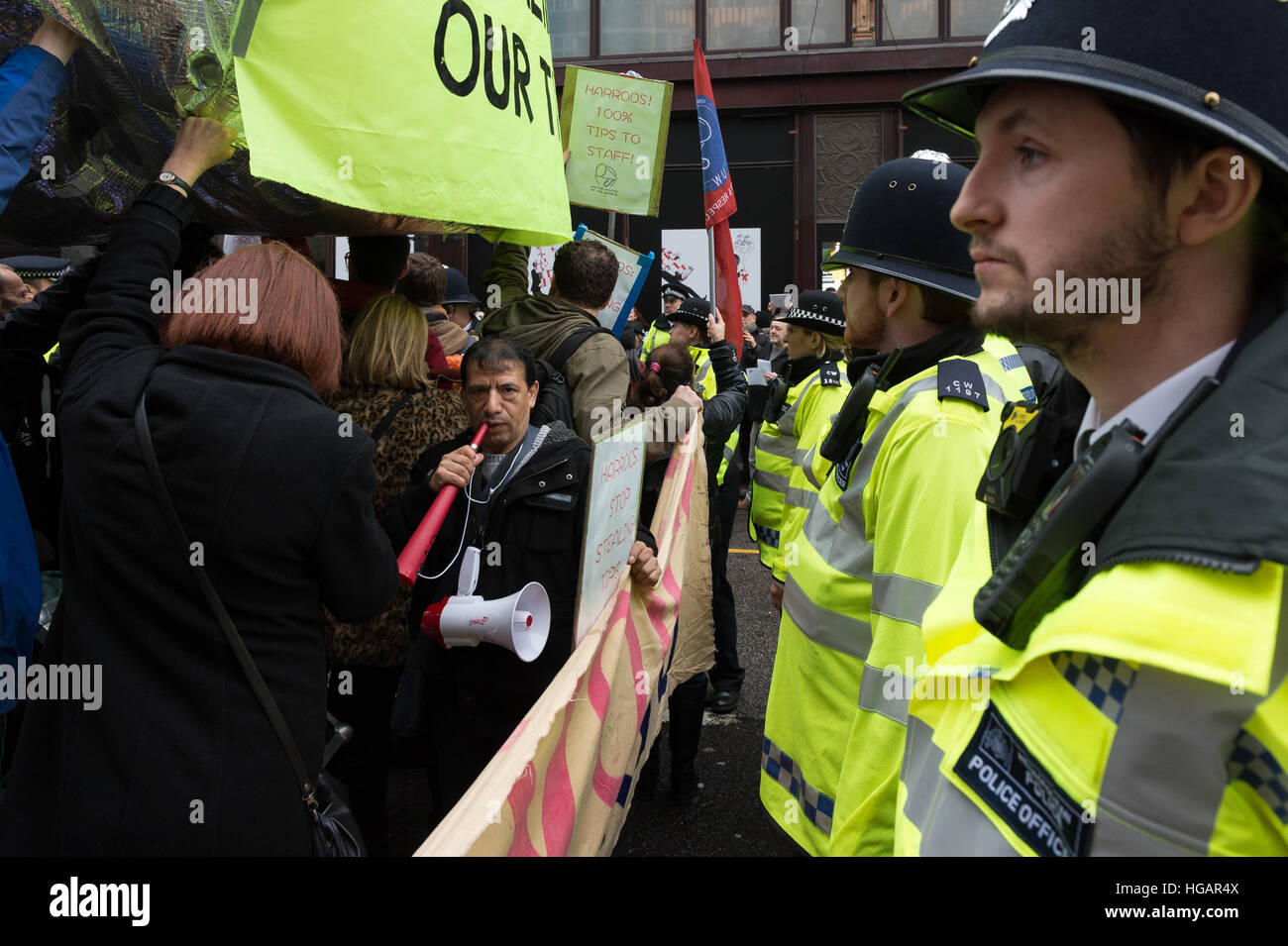 London, UK. 7th January 2017. United Voices of the World union organised the protest outside luxury department store Stock Photo