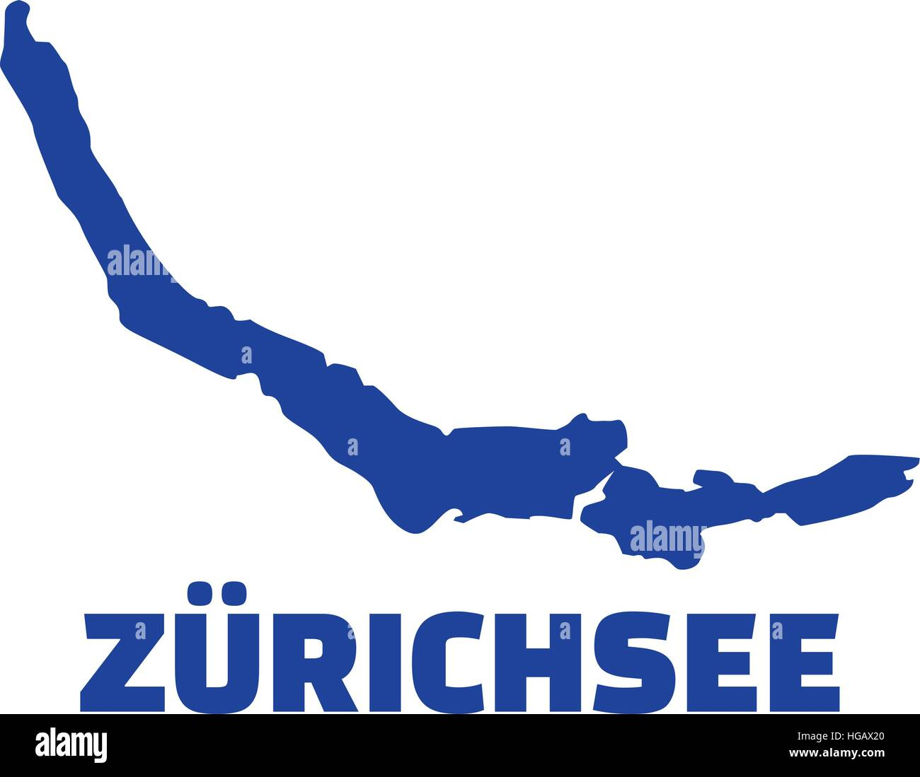 Lake Zurich silhouette with name - Stock Vector